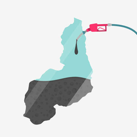Map of Piaui being fueled by oil. Gas pump fueled map. On the map there is glass reflection. Brazilian state. Conceptual. Oil producing or importing regions.