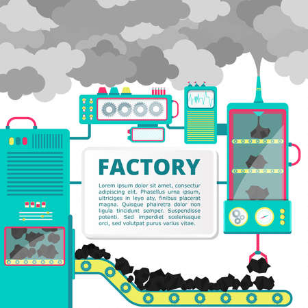 Factory showing coal being turned into smoke. Blank space for insert text. Conceptual illustration.