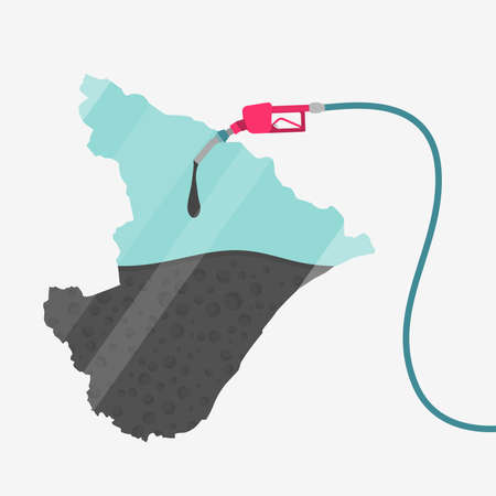 Map of Sergipe being fueled by oil. Gas pump fueled map. On the map there is glass reflection. Brazilian state. Conceptual. Oil producing or importing regions. Illustration
