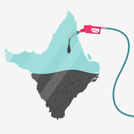 Map of Amapa being fueled by oil. Gas pump fueled map. On the map there is glass reflection. Brazilian state. Conceptual. Oil producing or importing regions.