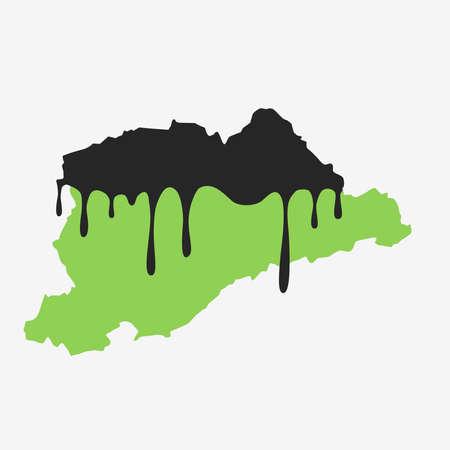 Map of big sao paulo covered in oil. Oil pollution in Brazilian state. Conceptual.
