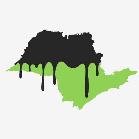 Map of sao paulo covered in oil. Oil pollution in Brazilian state. Conceptual.
