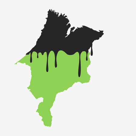 Map of Maranhao covered in oil. Oil pollution in Brazilian state. Conceptual. 向量圖像