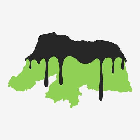 Map of Rio Grande do Norte covered in oil. Oil pollution in Brazilian state. Conceptual.