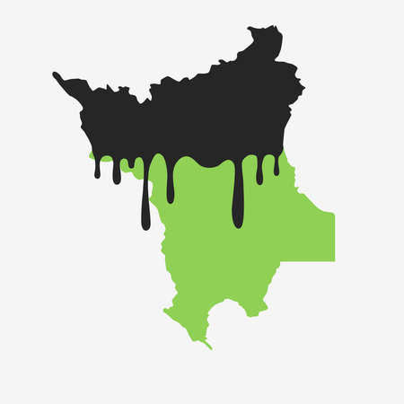 Map of Roraima covered in oil. Oil pollution in Brazilian state. Conceptual. 向量圖像