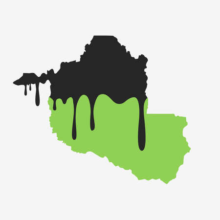 Map of Rondonia covered in oil. Oil pollution in Brazilian state. Conceptual. 向量圖像