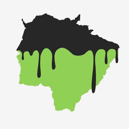 Map of Mato Grosso do Sul covered in oil. Oil pollution in Brazilian state. Conceptual. 向量圖像