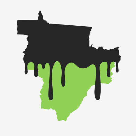 Map of Midwest of Brazil covered in oil. Oil pollution in Brazilian state. Conceptual.