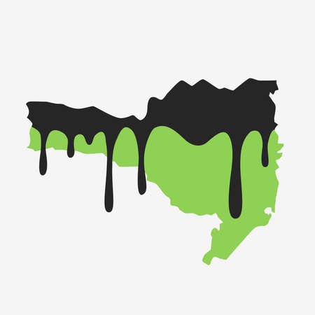 Map of Santa Catarina covered in oil. Oil pollution in Brazilian state. Conceptual. 向量圖像