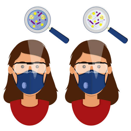 White woman wearing two types of masks (surgical face mask and N95 respirator) contaminated with microorganism. Zdjęcie Seryjne - 146843821