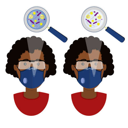 African woman wearing two types of masks (surgical face mask and N95 respirator) contaminated with microorganism. Иллюстрация