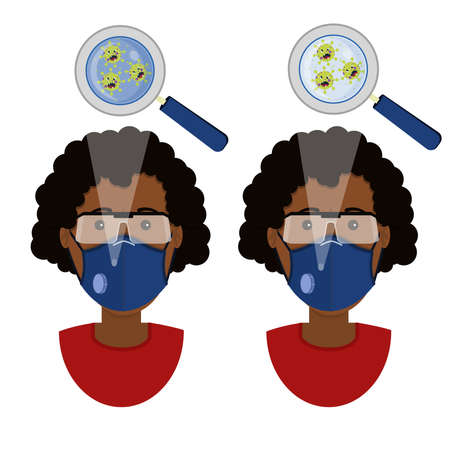 African woman wearing two types of masks (surgical face mask and N95 respirator) contaminated with angry cartoon virus. Иллюстрация