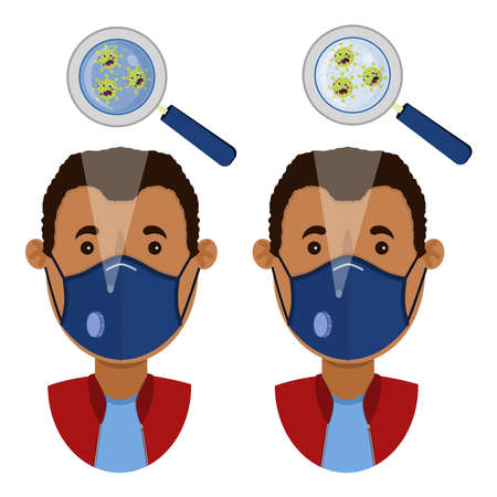 African man wearing two types of masks (surgical face mask and N95 respirator) contaminated with angry cartoon virus.