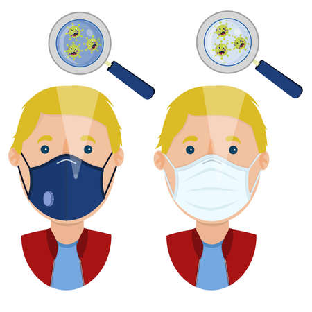 White man wearing two types of masks (surgical face mask and N95 respirator) contaminated with angry cartoon virus. Иллюстрация