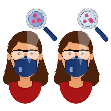 White woman wearing two types of masks (surgical face mask and N95 respirator) contaminated with virus. Ilustracja
