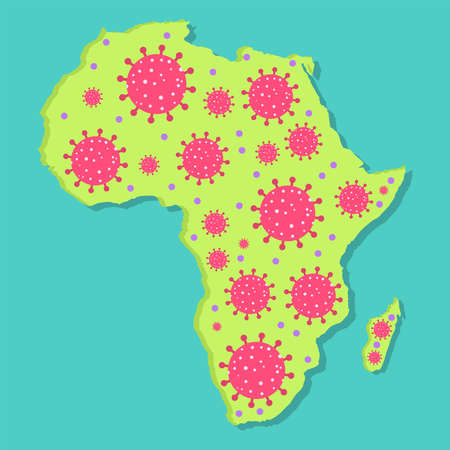 Map of Africa with virus. Coronavirus epidemic in african continent. Conceptual.