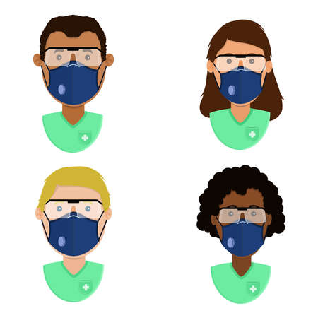 Set of health professionals with surgical mask n95 and medical safety glasses for protection. Ethnic diversity of characters.