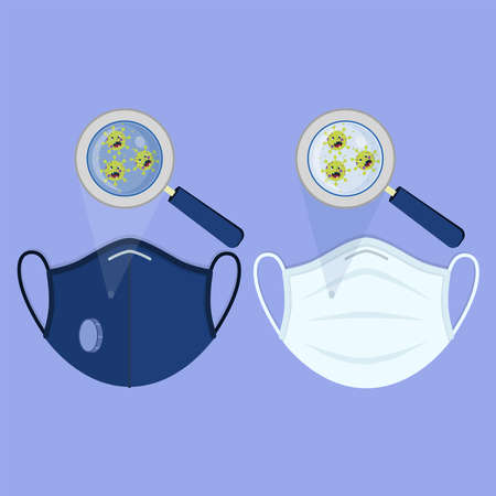 Two types of medical masks: surgical face mask and N95 respirator. Angry cartoon virus contaminating the masks and being enlarged by the magnifying glass. 矢量图像
