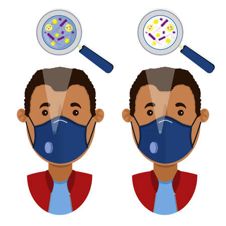 African man wearing two types of masks (surgical face mask and N95 respirator) contaminated with microorganism.