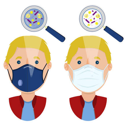 White man wearing two types of masks (surgical face mask and N95 respirator) contaminated with microorganism. Ilustracja