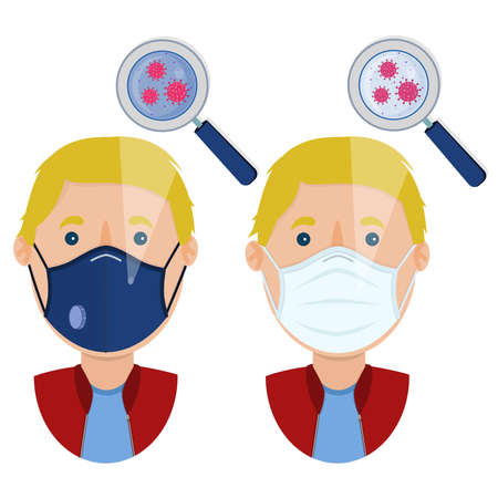 White man wearing two types of masks (surgical face mask and N95 respirator) contaminated with virus.