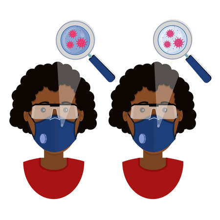 African woman wearing two types of masks (surgical face mask and N95 respirator) contaminated with virus.