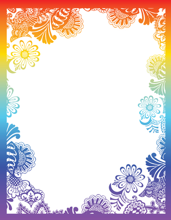 fancy border: Paisley flower frame Illustration