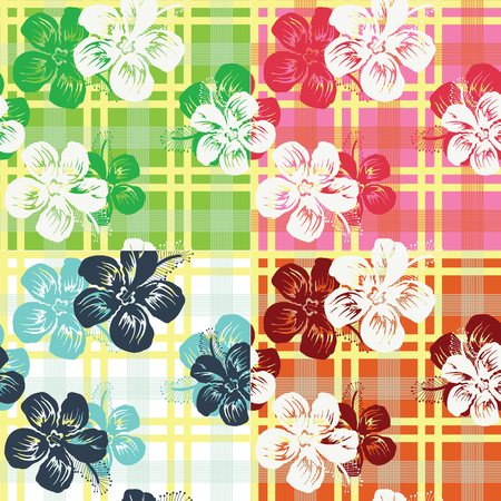 swell: seamless tropical flower check pattern