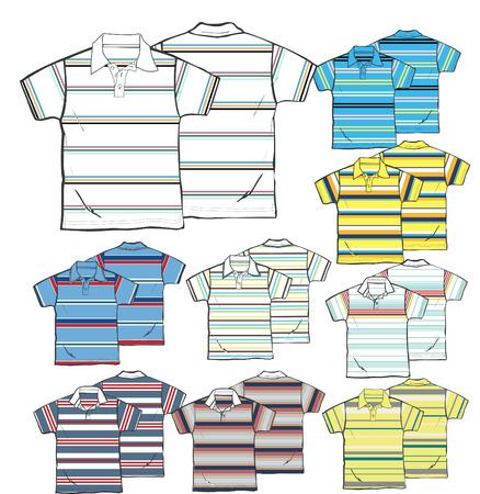 ポロ: 異なる縞模様のポロシャツの概要  イラスト・ベクター素材