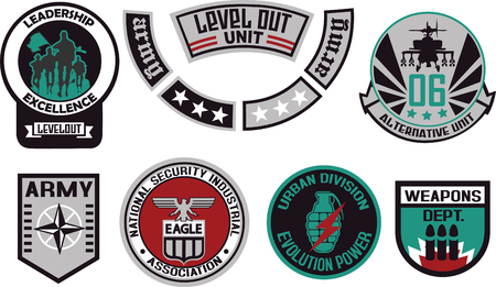 Emblem shield military badge logo Vector