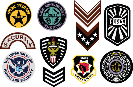 badge logo: military shield logo Illustration