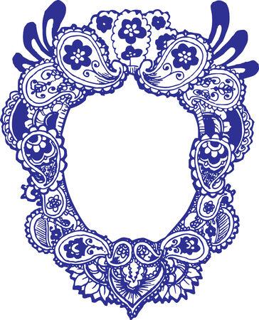 Paisley flower frame Vector