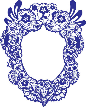 indian happy family: Paisley flower frame Illustration
