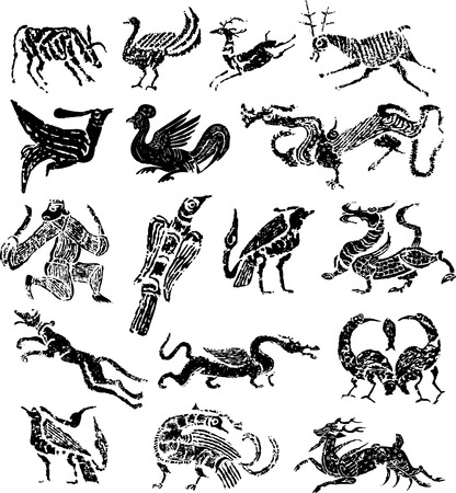 Ancient stamp animal Vector