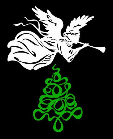 Christmas tree angel  Vector