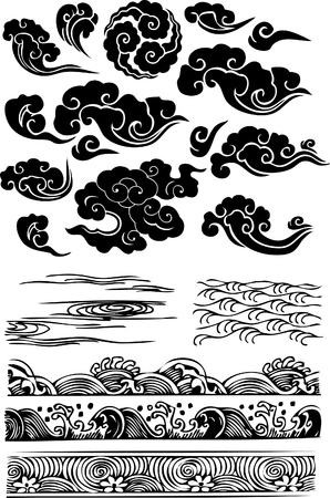 classic cloud sea water splat Vector