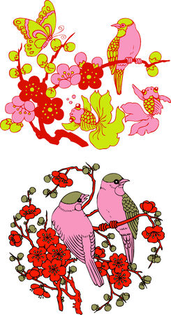 classic Chinese tree bird emblem  Vector