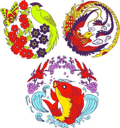 classic Chinese tree bird emblem  Illustration