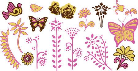 Children butterfly flower garden Vector