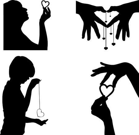 coeur silhouette Vecteurs