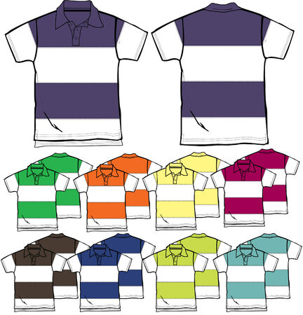 summer wear: men and boy polo outline Illustration