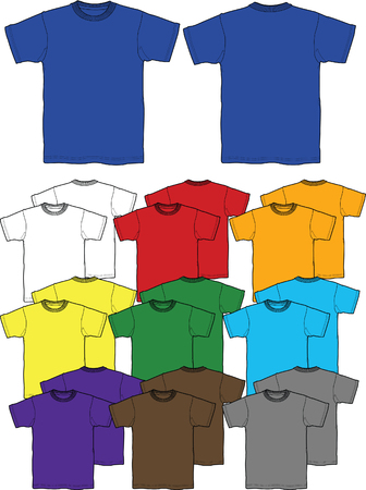 summer wear: men and boys t-shirts outline Illustration
