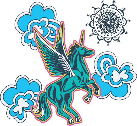 unicorn flower illustration Vector
