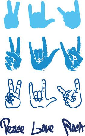 Peace hand sign logo love rock Vector