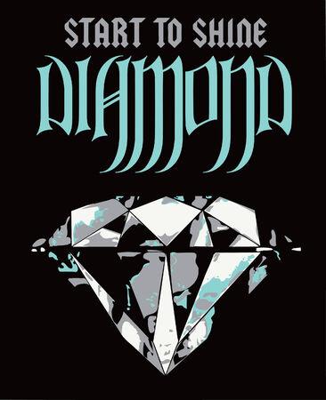 queen diamonds: diamanti lusso poster Vettoriali