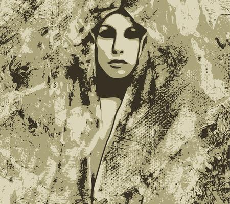 artistic woman stone Vector