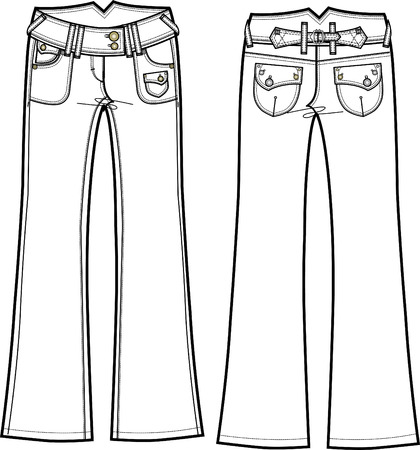 lady denim boot cut jeans Vector