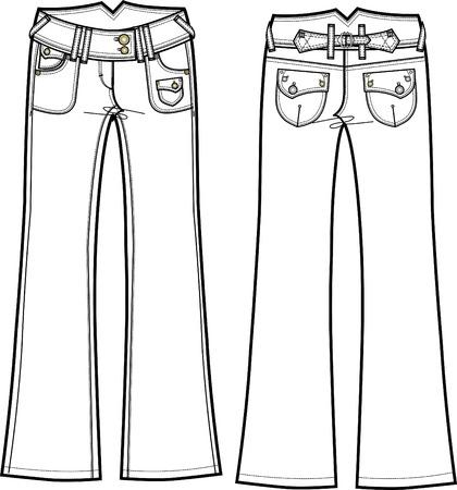 lady denim boot cut jeans Vector