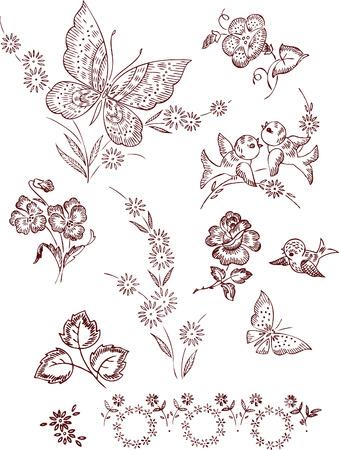flower butterfly elements Vector