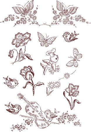 golondrinas: elementos de mariposa de flor Vectores